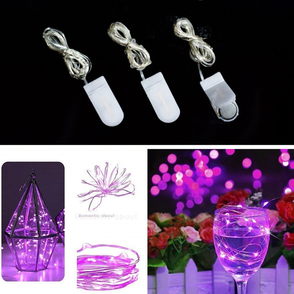 2M 20LED Button Battery Copper Wire String Light Fairy Lamp Wedding Party Festivals Decoration pink light