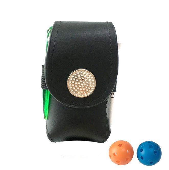 Portable Golf Ball Holder with 2 Trainning Balls Waist Pouch Bag Leather Golf Tee Bag Small Golf Ball Bag black
