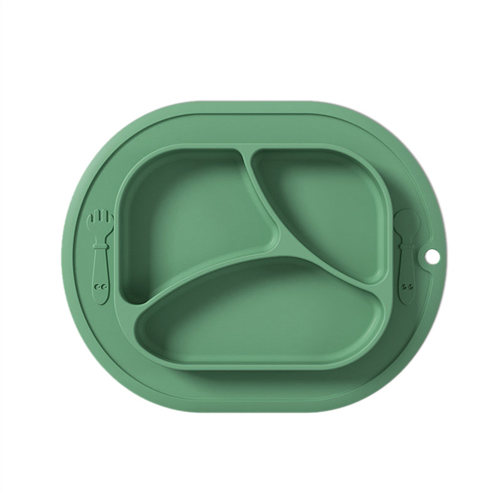 Baby  Grid  Suction  Cup Silicone One-piece Food Training Bowl Drop-proof Nutrition Children Tableware green