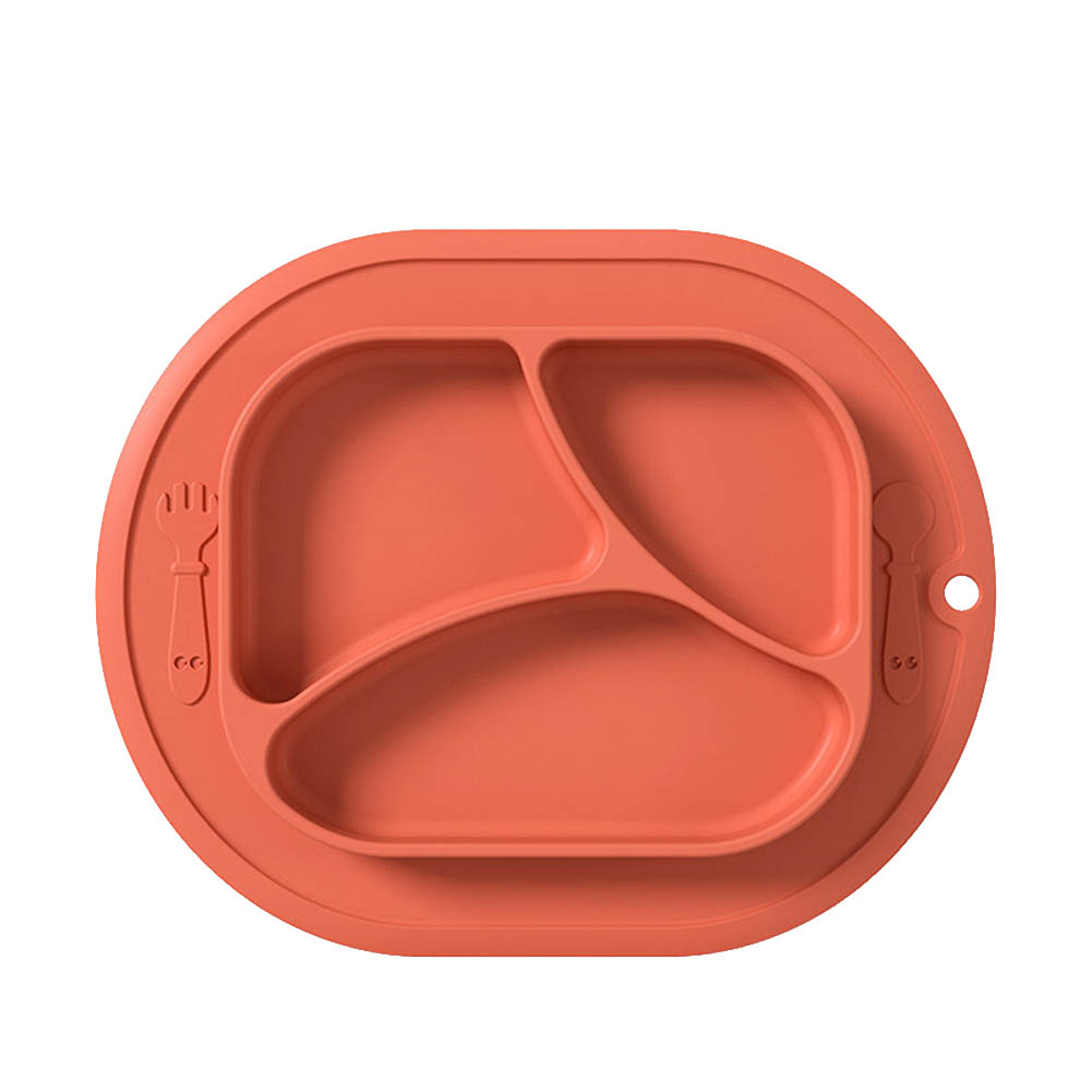Baby  Grid  Suction  Cup Silicone One-piece Food Training Bowl Drop-proof Nutrition Children Tableware red