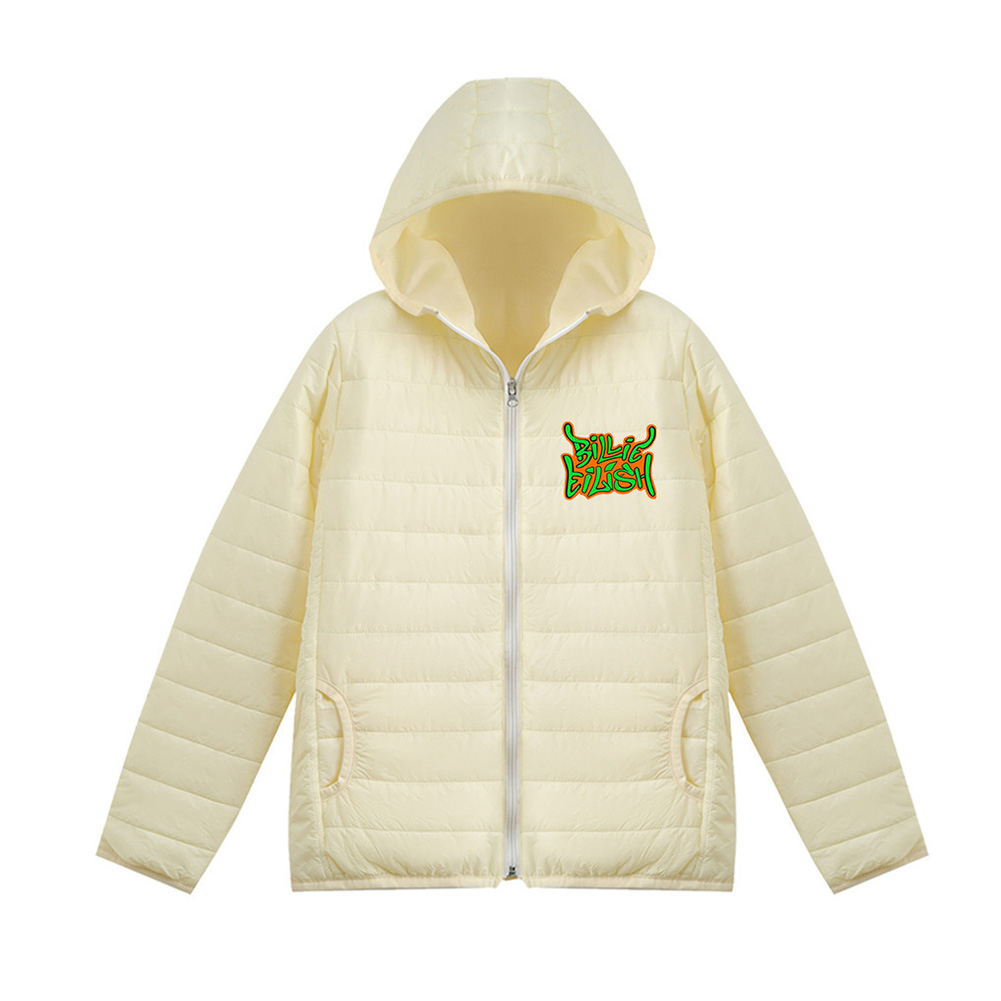 Thicken Short Padded Down Jackets Hoodie Cardigan Top Zippered Cardigan for Man and Woman White C_S