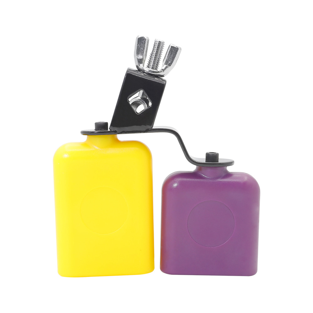 CB30 Cowbell Cow Loud Call Bells for Cheers Sports Games Weddings Percussion Instruments yellow + purple