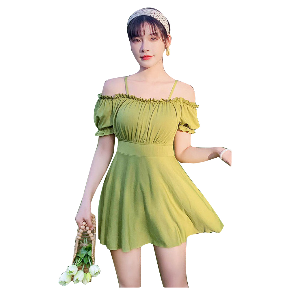 Women Swimsuit Solid Color Skirt-style One-piece Swimsuit For Summer Beach Holiday green_L