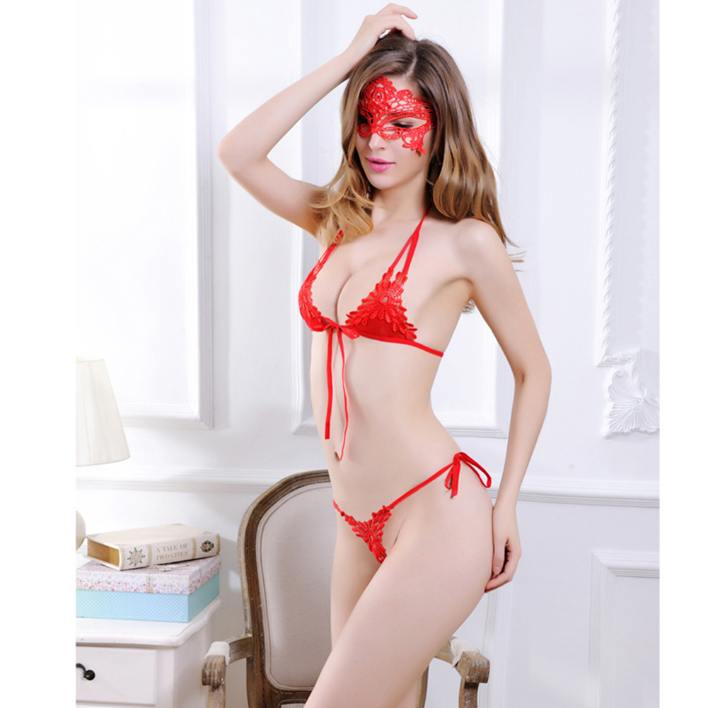 Women Sexy Underwear Set Lace Halter Bra + Briefs G-string Bowknot Ribbon Backless Erotic Lingerie red_One size