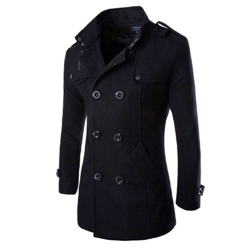 Autumn Winter Men Double-breasted Button Lapel Collar Long Style Casual Garment Coat black_XL