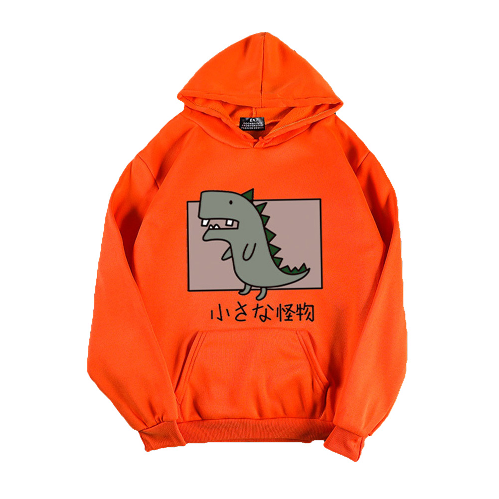 Boy Girl Hoodie Sweatshirt Cartoon Dinosaur Printing Spring Autumn Student Loose Pullover Tops Orange_M