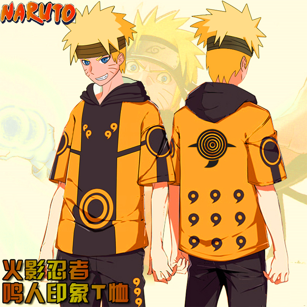 Unisex Fashion Short-sleeved T-shirt Hooded Tops with Naruto Digital 3D Print  I style_M
