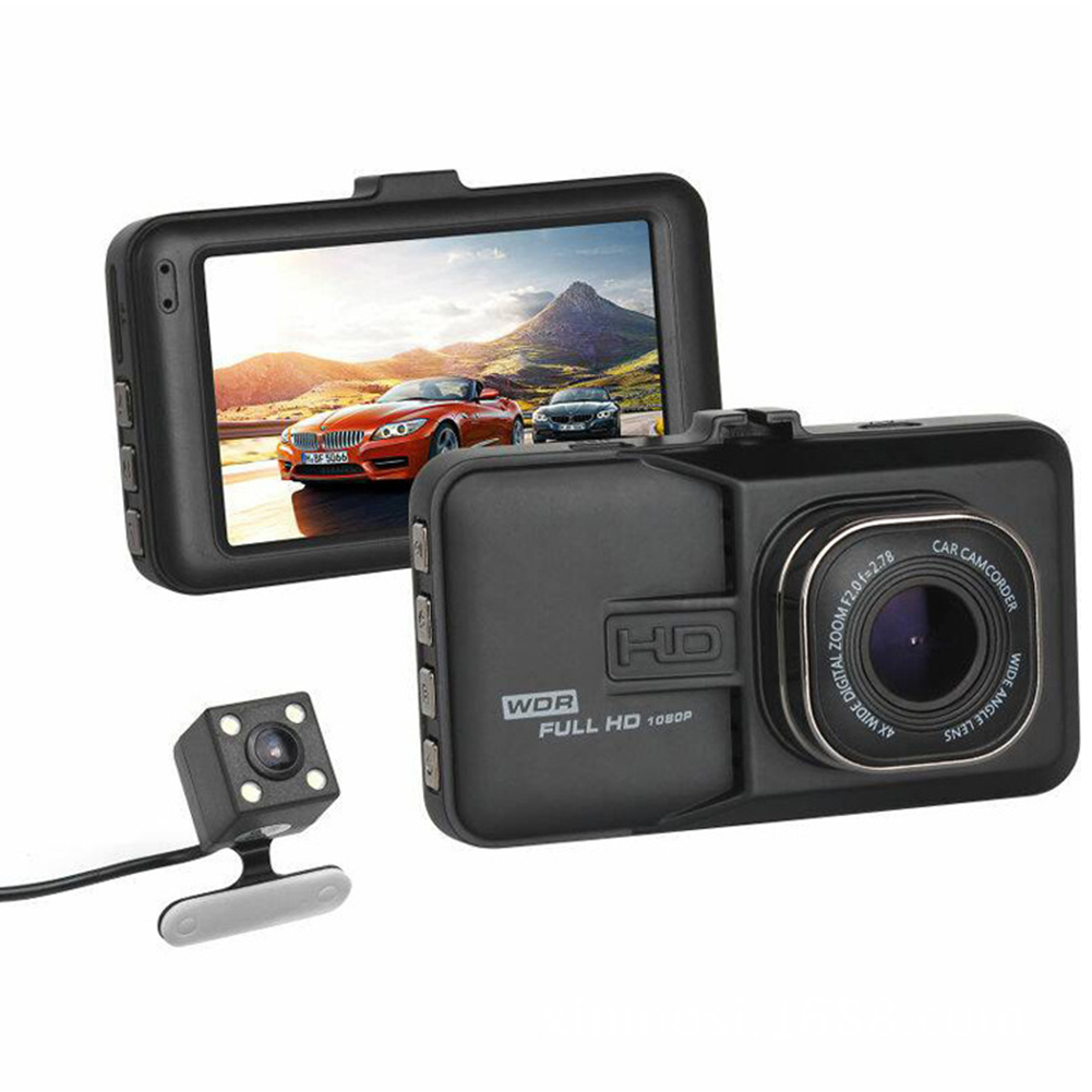 3 Inch 1080p Large-size Screen Monitors Car Driving Recorder Dashcam Infrared Night Vision Double Record Dual lens HD