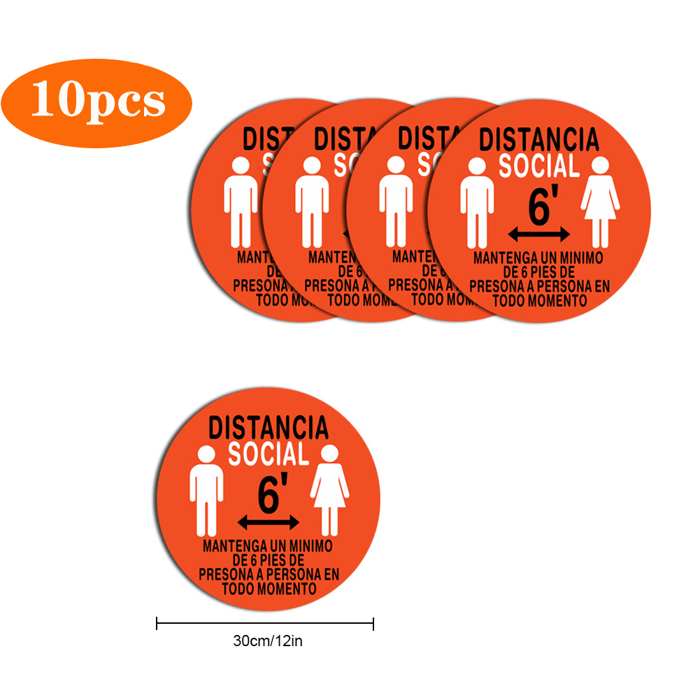 5pcs/10pcs Safety Notice Floor Marker Social Distancing Floor Decals For Floor Spanish Version 10pcs