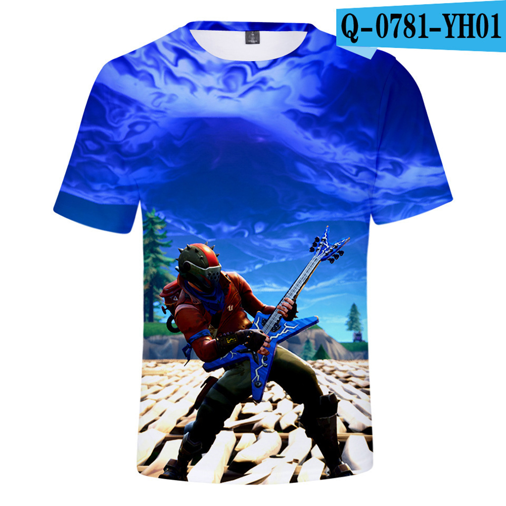 Casual 3D Cartoon Pattern Round Neck T-shirt Picture color X_XS
