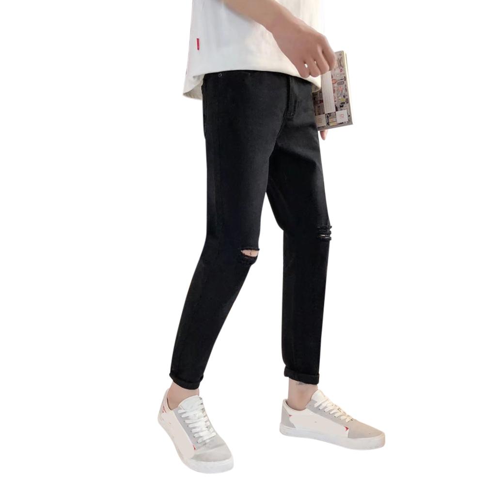 Men Fashion Black Ninth Pants Broken Hole Jeans C51 black_32#