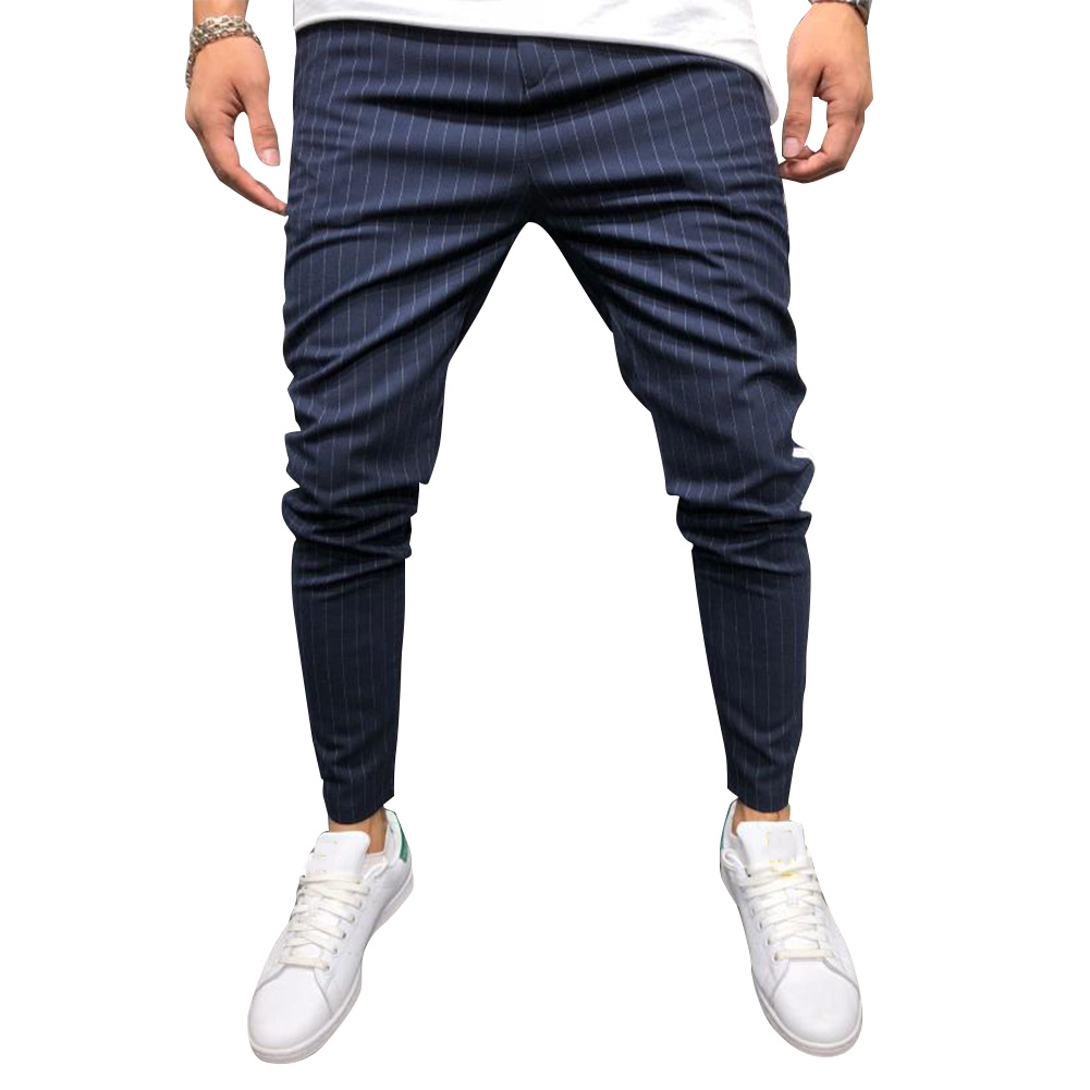 Men Casual All-match Stripe Twill Harem Pants Navy_XXL