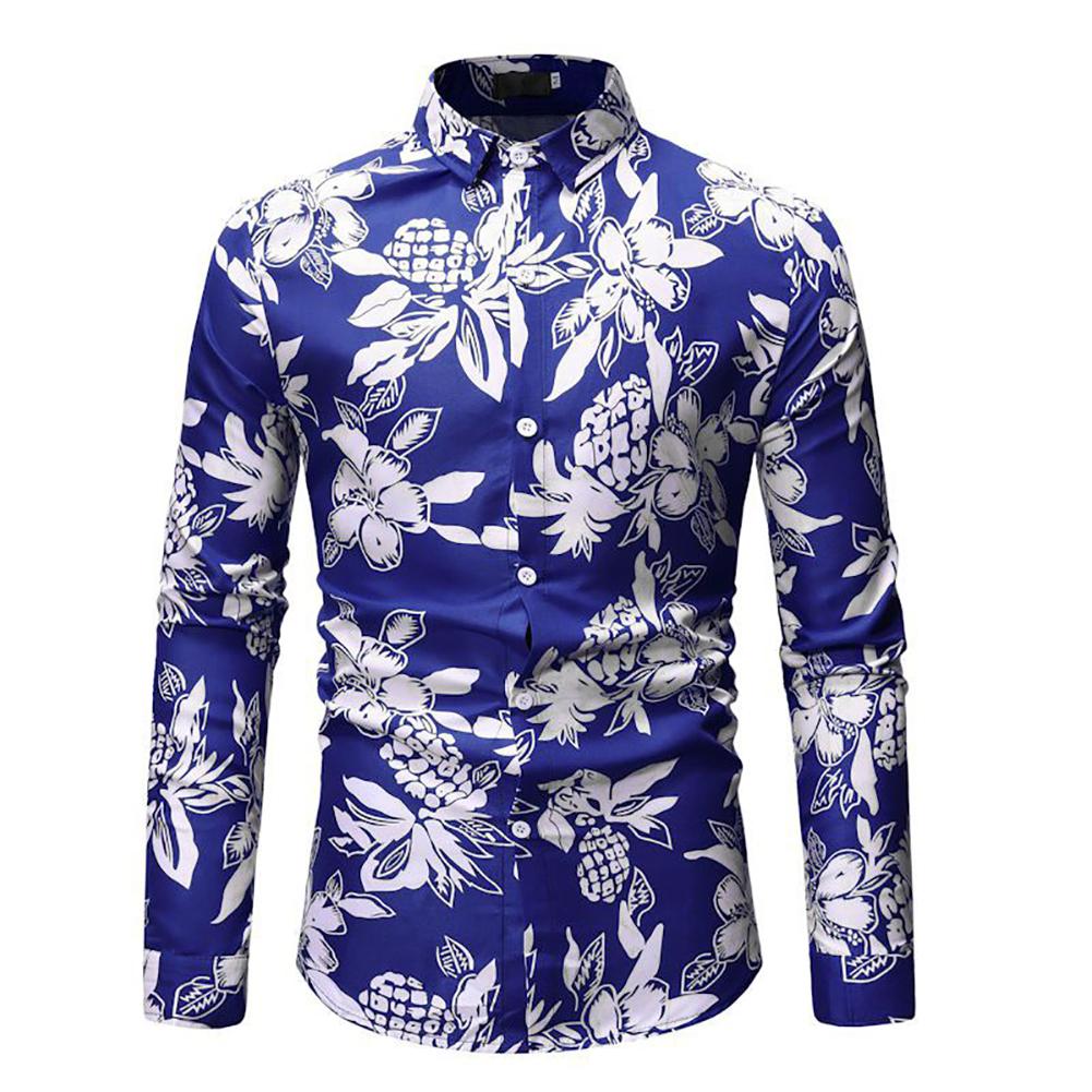 Men Fashion Casual Printing Stand Collar Long Sleeve T-shirt blue_M