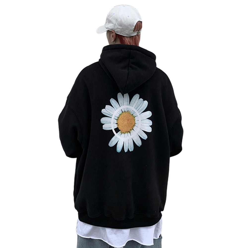 Men Women Hoodie Sweatshirt Chrysanthemum Printing Simple Unisex Pullover Tops Black_XXXL