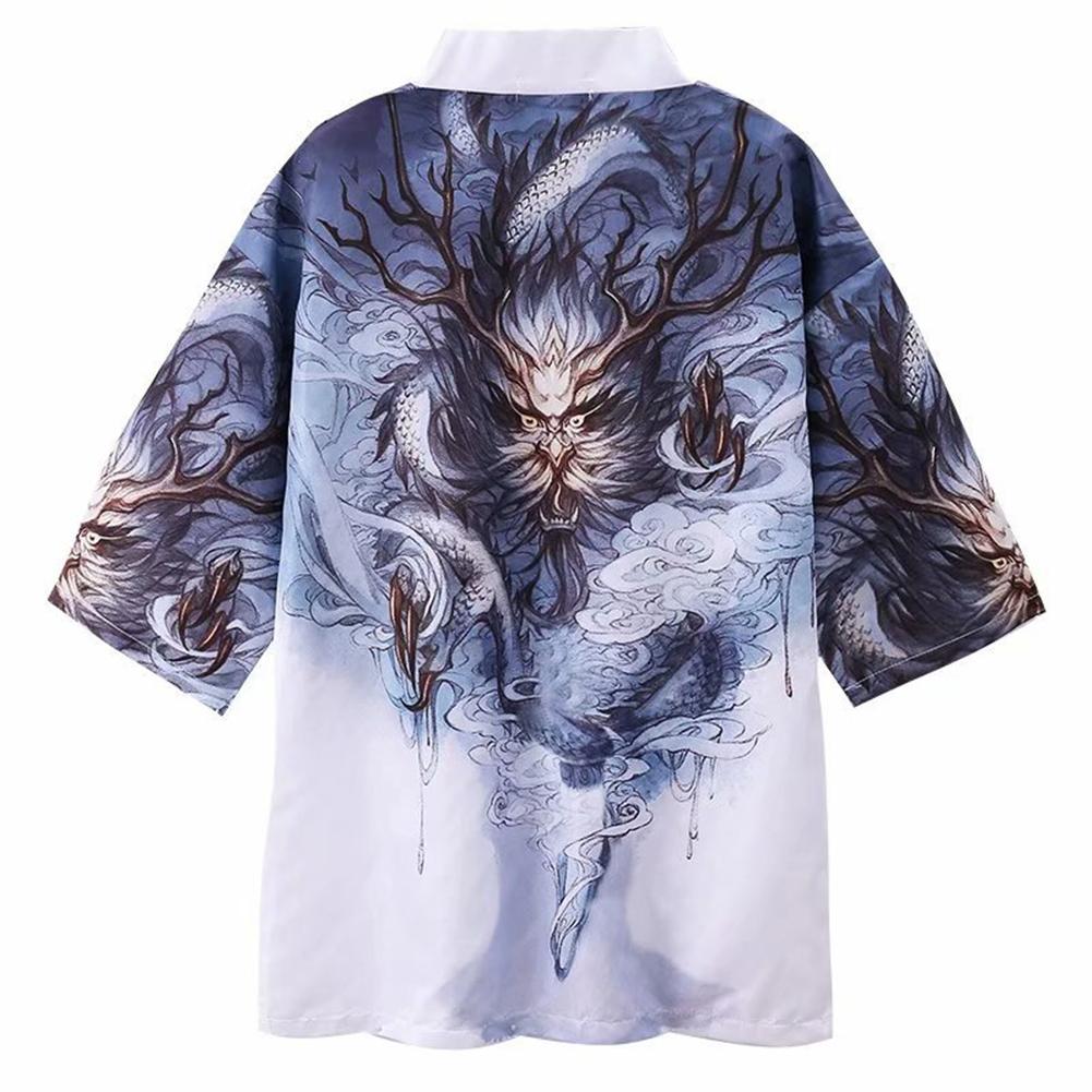 Men Women Kimono Dragon Claw Print Cardigan Robe Loose 3/4 Sleeve Thin Summer Garment Coat Dragon Claw_L