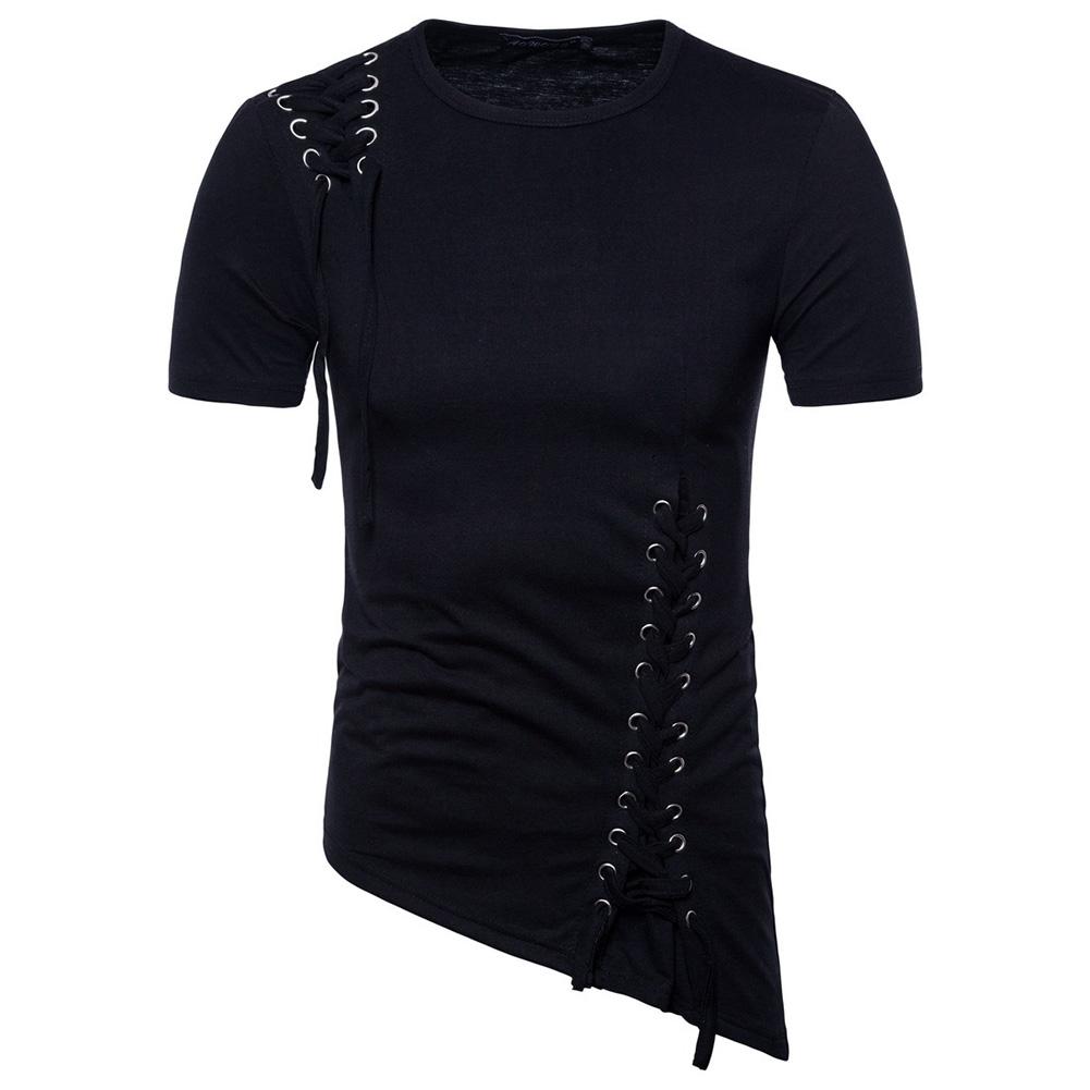 Men Casual Slim Short Sleeve T-Shirt Unique Irregular Hem Braided Rope Tops black_XXL