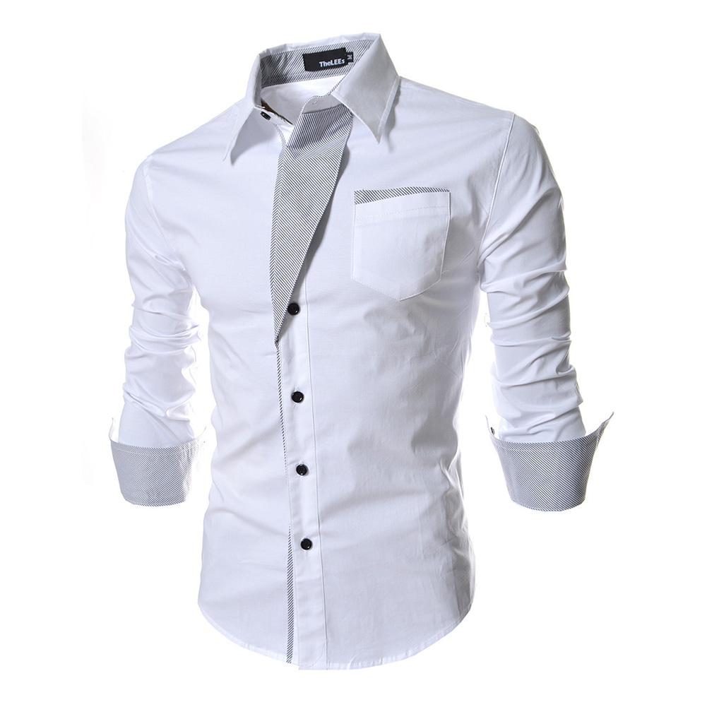 Men Fashion Stripe Pocket Decor Long Sleeve Shirtx white_L