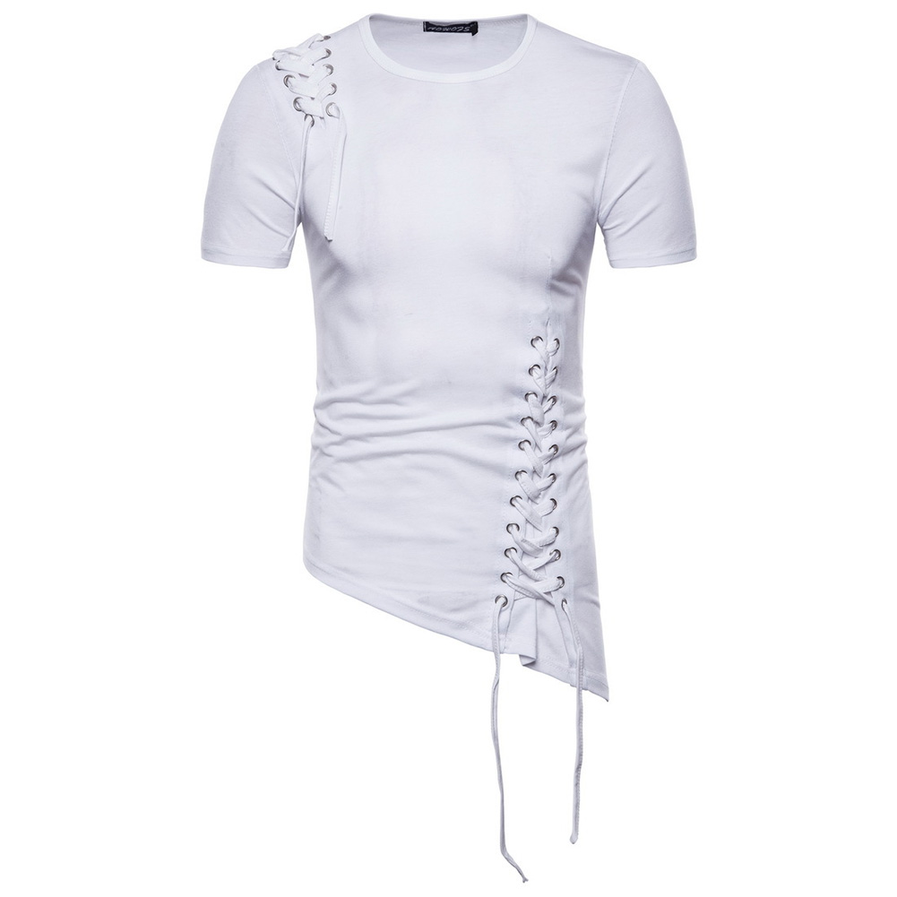 Men Casual Slim Short Sleeve T-Shirt Unique Irregular Hem Braided Rope Tops white_XL