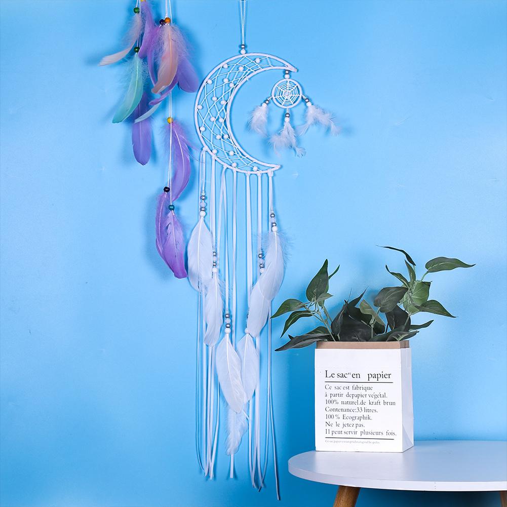 Dreamcatcher Moon/Round/Star Handmade Wall Ornament Girls Room Decoration Feather Dream Catcher moon
