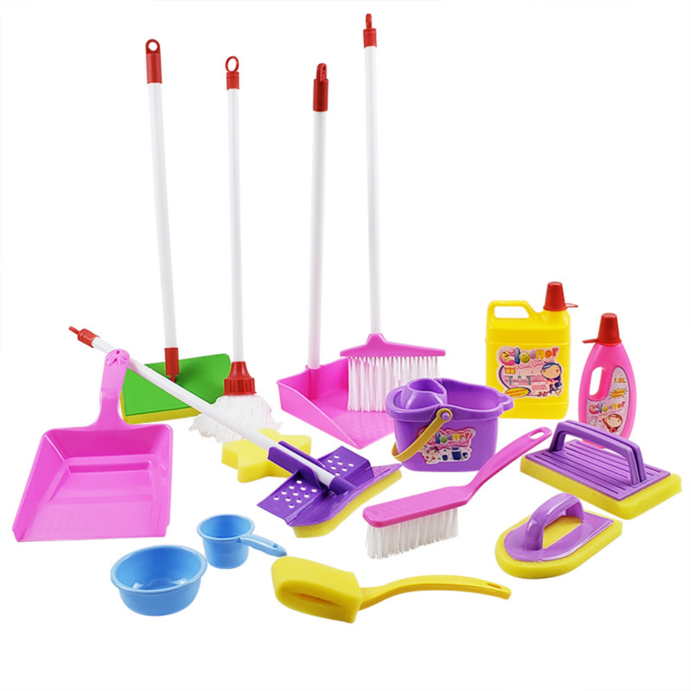 Kids Simulate Broom Dustpan Brush Cleaning Tool Set for Toddlers Housekeeping Accessories As shown