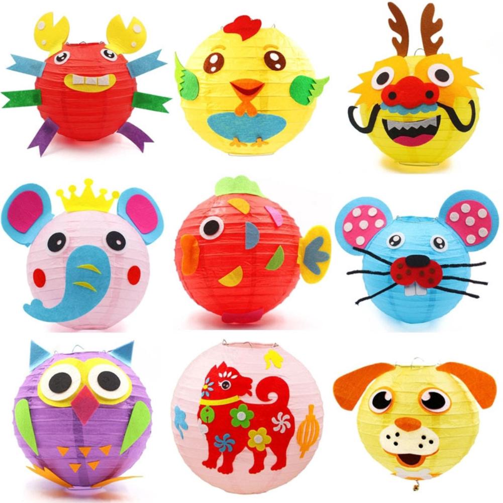 LED Cartoon Animals Paper Chinese Lantern DIY Handcrafts for Child Birthday Party Random style