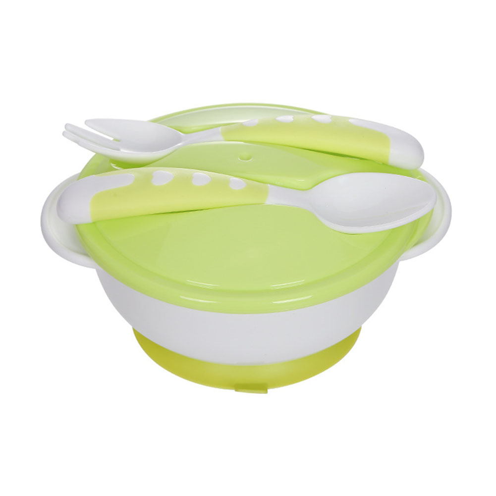 4Pcs/Set Baby Bowl with Suction Cup+ Lid + Spoon + Fork Set for Kids Training