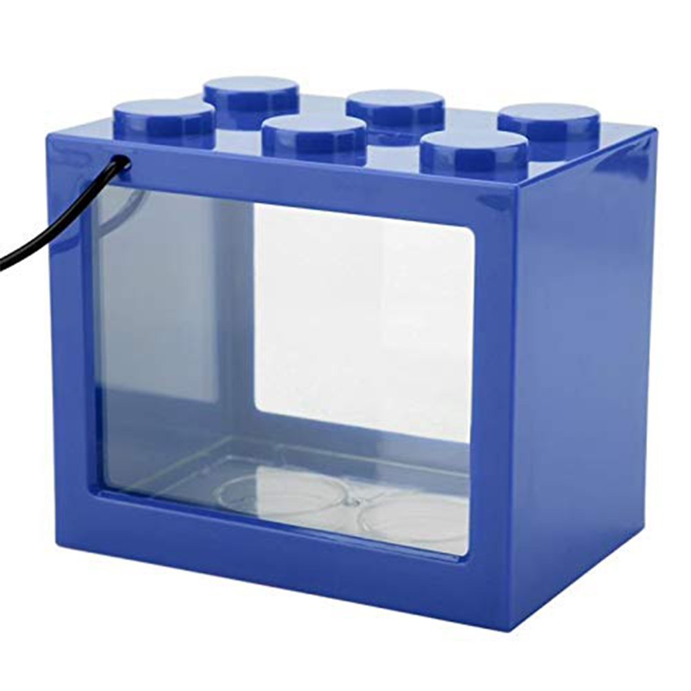 Mini Aquarium with Light Fishbowl for Home Office Tea Table Decoration Blue