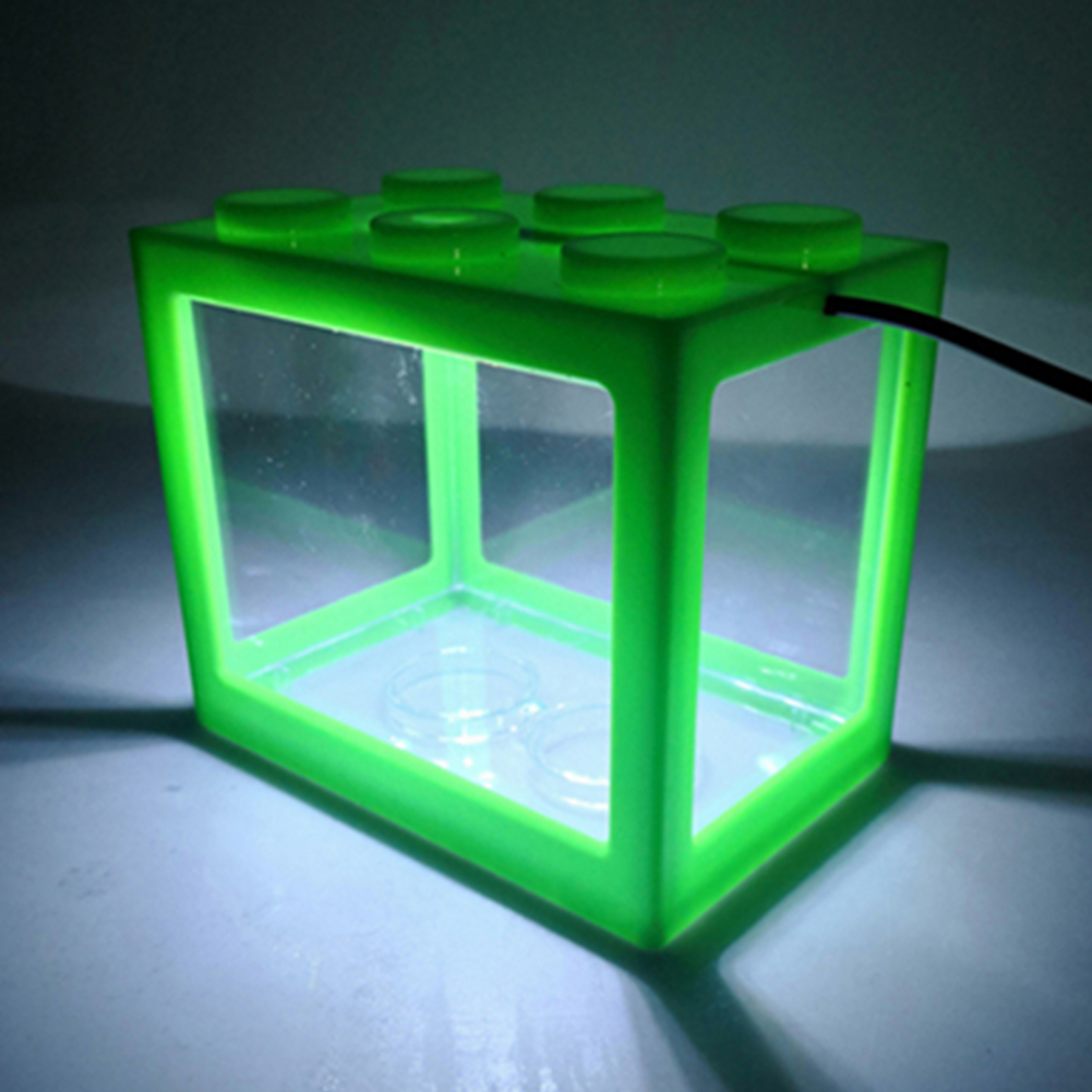 Mini Aquarium with Light Fishbowl for Home Office Tea Table Decoration green