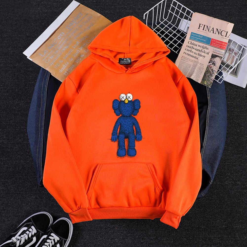 KAWS Men Women Hoodie Sweatshirt Cartoon Standing Doll Thicken Autumn Winter Loose Pullover Orange_L