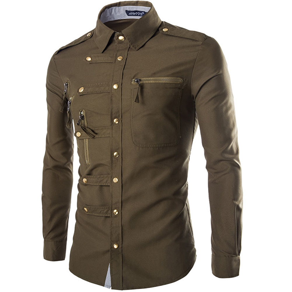 Men Spring And Autumn Retro Simple Fashion Long Sleeve Shirt Tops ArmyGreen_M