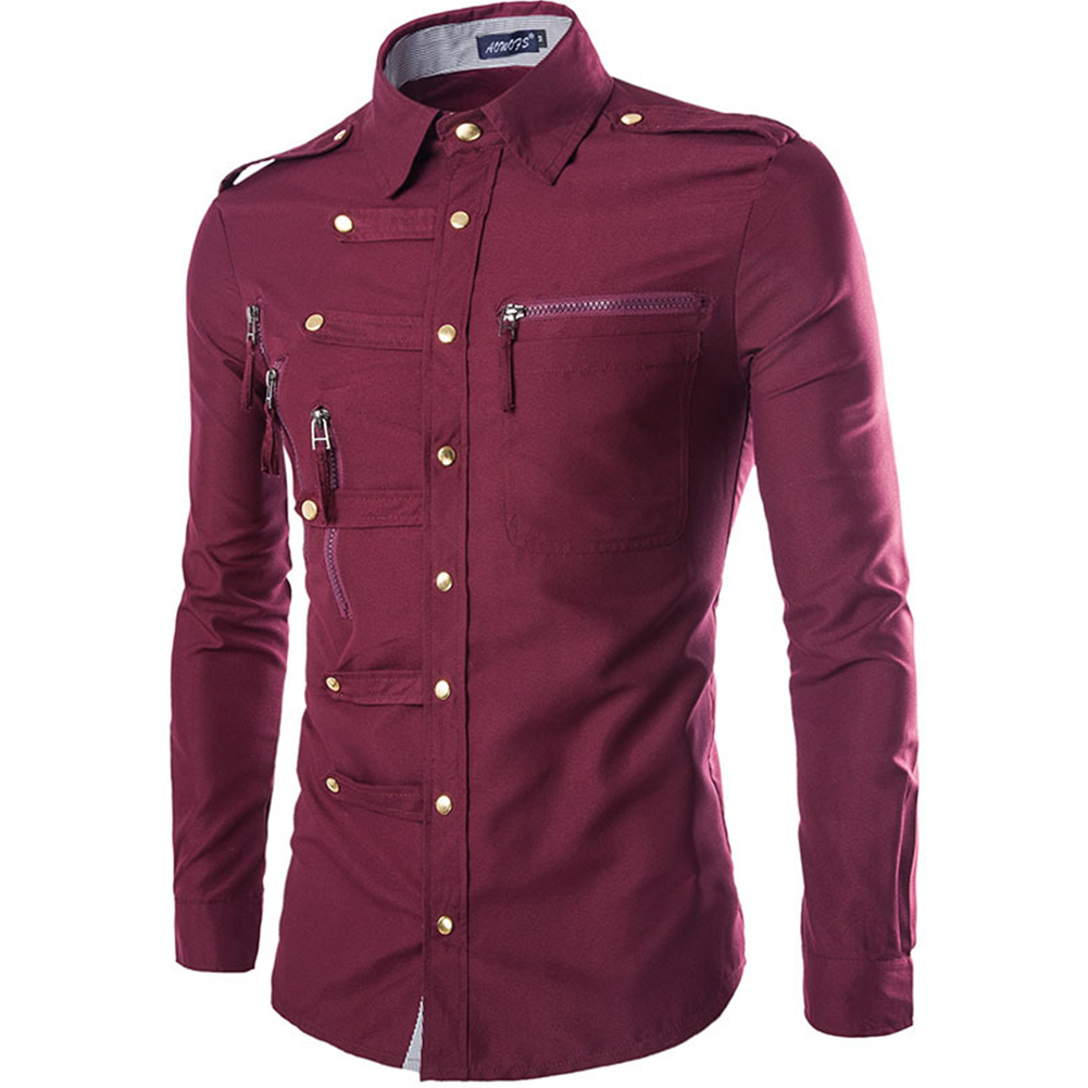 Men Spring And Autumn Retro Simple Fashion Long Sleeve Shirt Tops Red wine_L