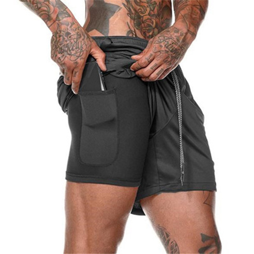 Men Large Size Fitness Training Jogging Sports Quick-drying Shorts black_XXL