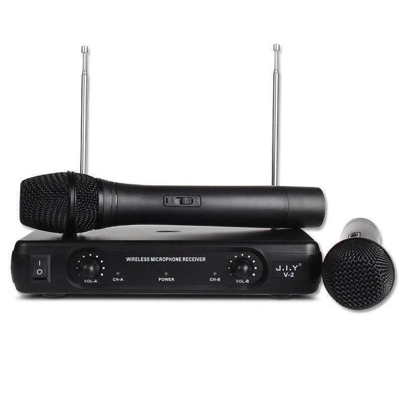 Professional Wireless Microphone System Karaoke Dual Handheld Dynamic Microphones Mic for Home Party KTV black_UK plug