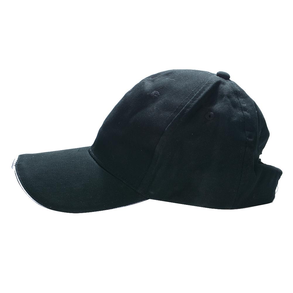 LED Light Glow Club Party Sports Athletic Black Fabric Travel Hat Cap White Light