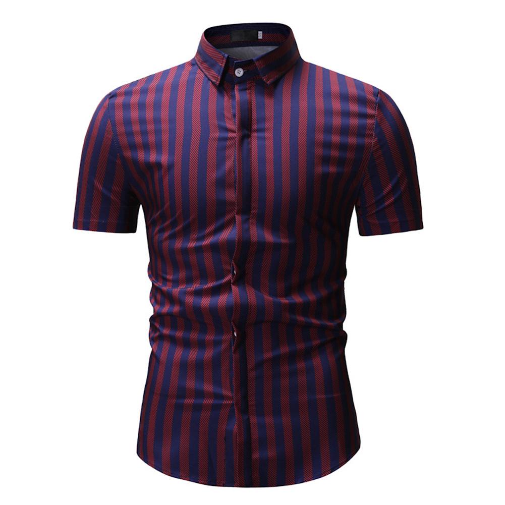 Men New Striped Casual Cotton Blend Short Sleeve Shirt Tops Red Stripe_XL