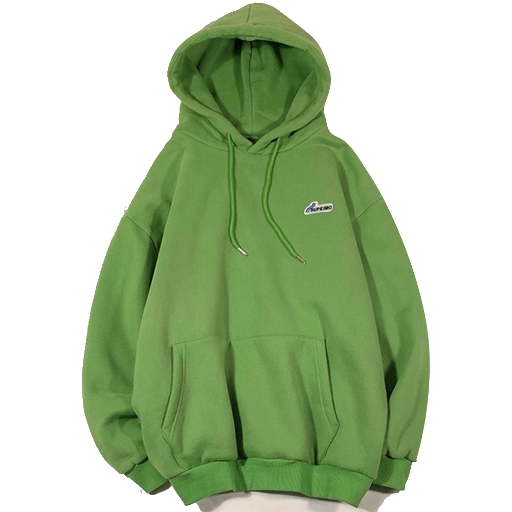 Men Women Hoodie Sweatshirt Letter Solid Color Loose Fashion Pullover Tops Green_L