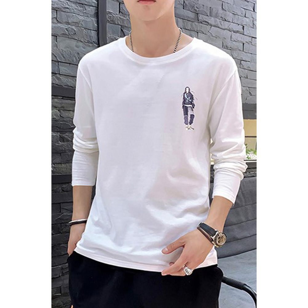 Male Casual Shirt of Long Sleeves and Round Neck Slim Top Pullover with Cartoon Pattern Decorated white_M