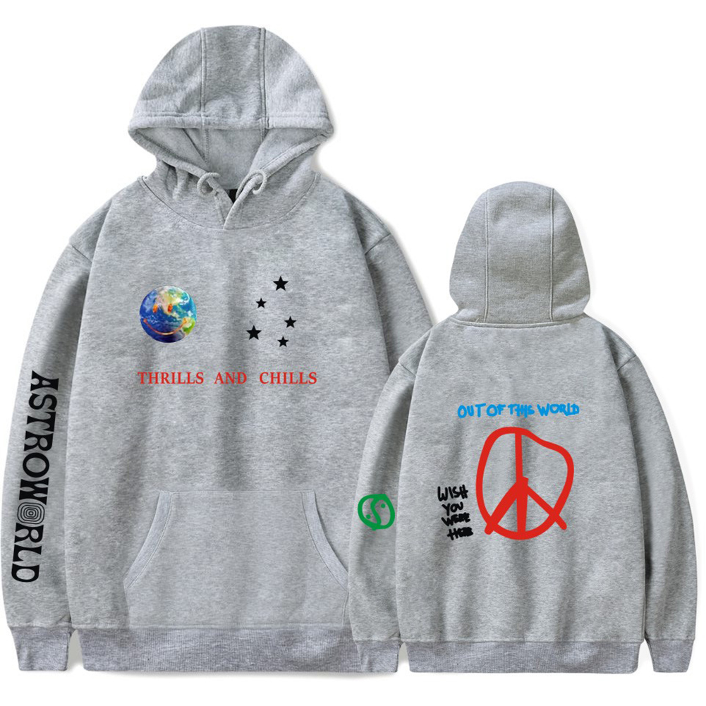 Travis Scotts ASTROWORLD Long Sleeve Printing Hoodie Casual Loose Tops Hooded Sweater E gray_2XL