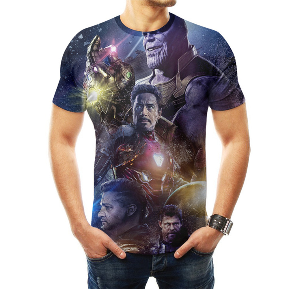 Stylish Cool Avengers Endgame 4 3D Movie Poster Digital Printing Round Neck Loose Short Sleeve T-shirt