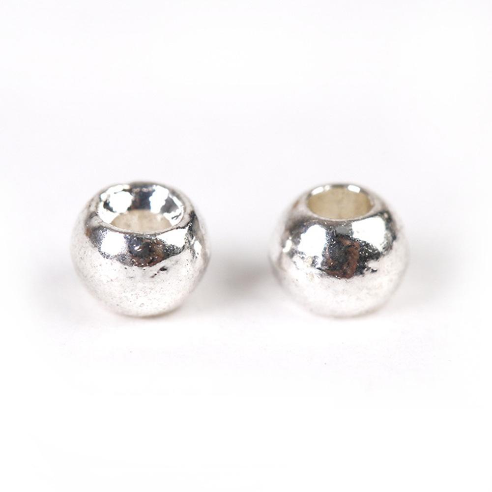 25pcs/set Fly Tying Tungsten Beads Round Nymph Head Ball Fly Tying Material Tungsten Bean Set Silver_3.8mm