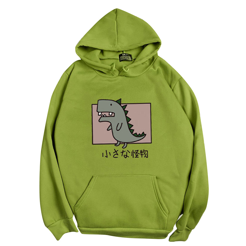 Boy Girl Hoodie Sweatshirt Cartoon Dinosaur Printing Loose Spring Autumn Student Pullover Tops Green_XL