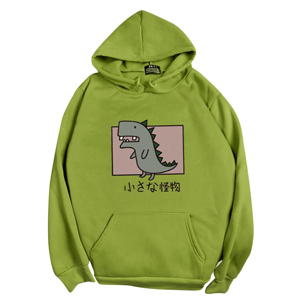 Boy Girl Hoodie Sweatshirt Cartoon Dinosaur Printing Loose Spring Autumn Student Pullover Tops Green_L