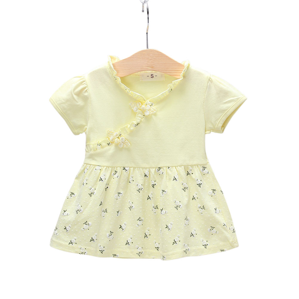 Kids Girls Dress Cotton Short Sleeve Printed Dress for Infants  yellow_S