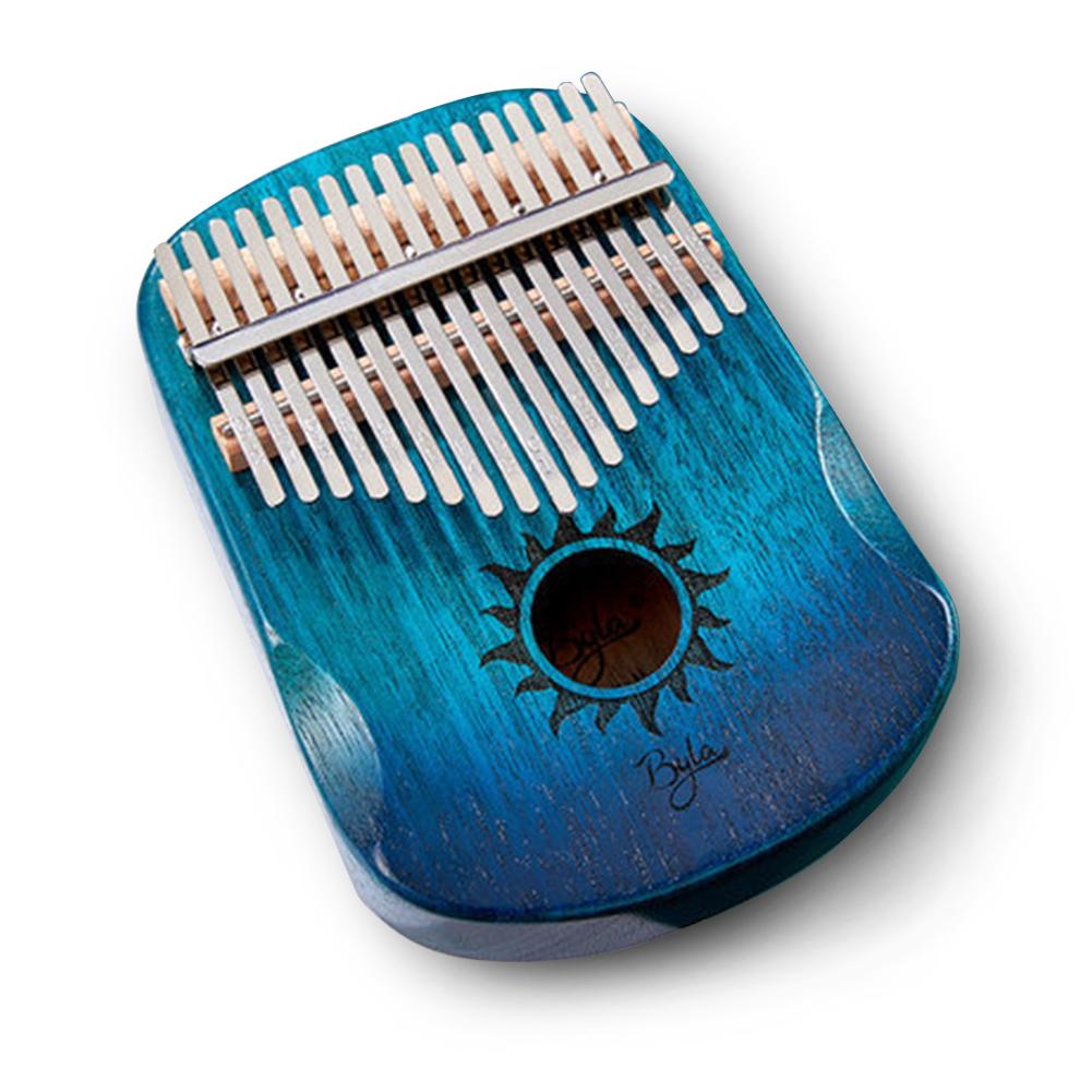 17 Keys EQ Kalimba Sun Pattern Mahogany Thumb Piano Classic Musical Instrument Wood Keyboard With Arc Hand Guards Blue Kalimba