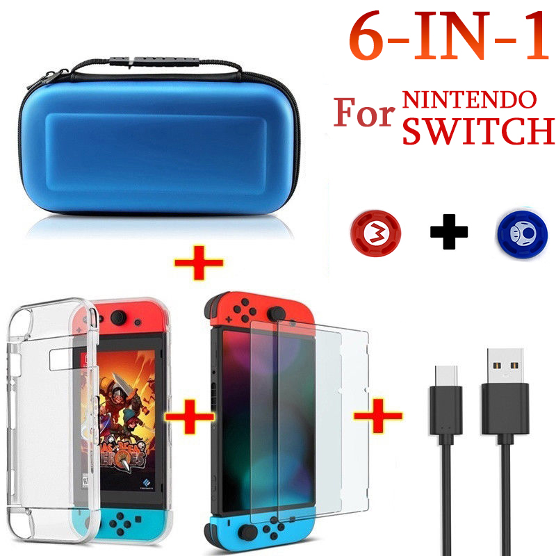 For Nintend Switch Travel Carrying Bag Screen Protector Case Charging Cable blue