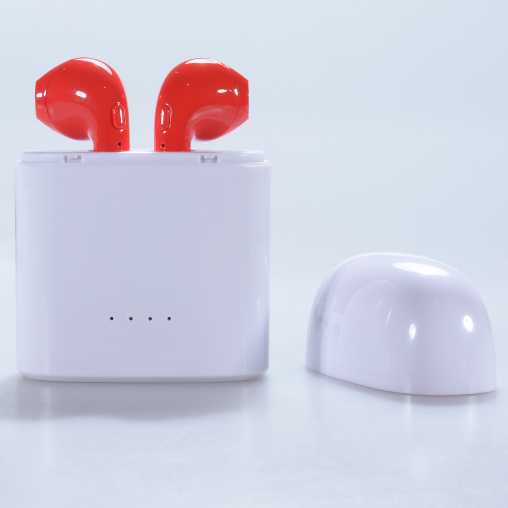 HBQ i7s TWS Wireless Mini In-ear Bluetooth 4.2 Binaural Headset Stereo Sound Noise Cancellation Earbuds-Red