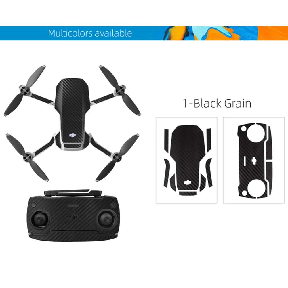 PVC Shell Decoration Sticker for DJI Mavic Mini Drone Body Arm and Controller Waterproof Anti-Scratch Full Protective Film black