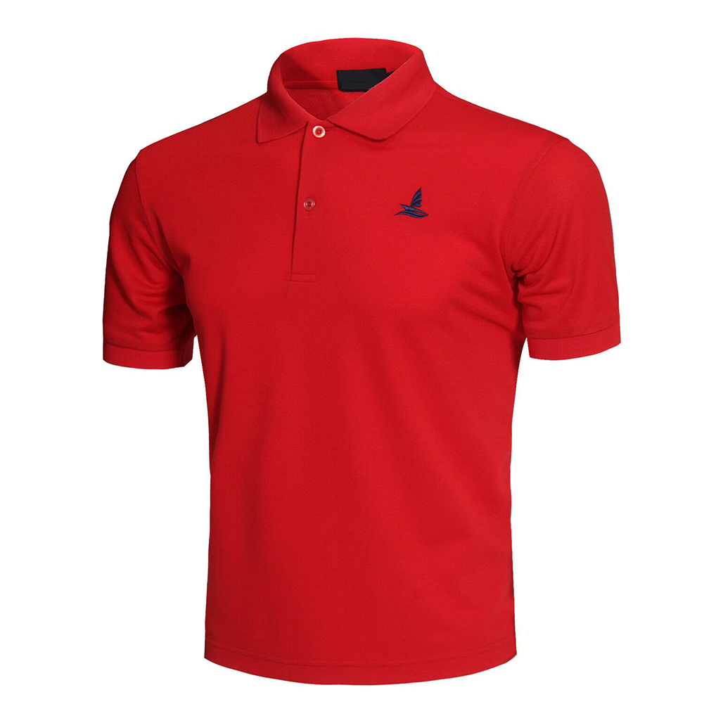 Men Short Sleeve Shirts Solid Color Lapel Collar Casual Tops for Daily Sports Wearing red_XXL