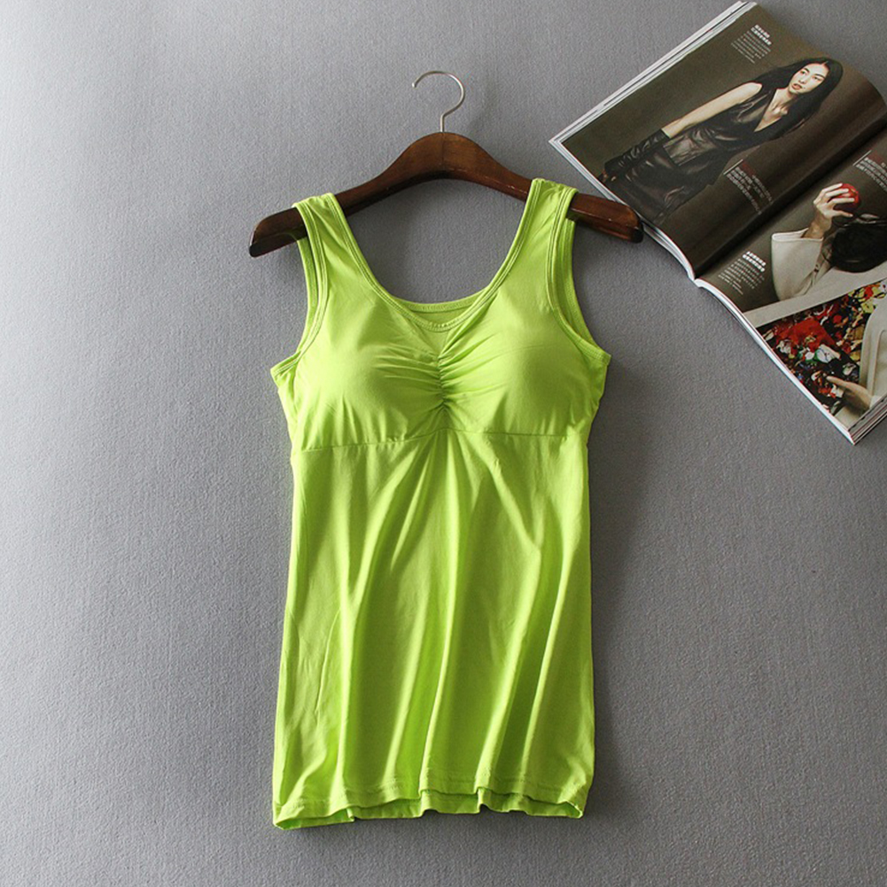 Women Modal Chest Pad Camisole Vest Without Steel Ring for Yoga Sports Fluorescent green_One size