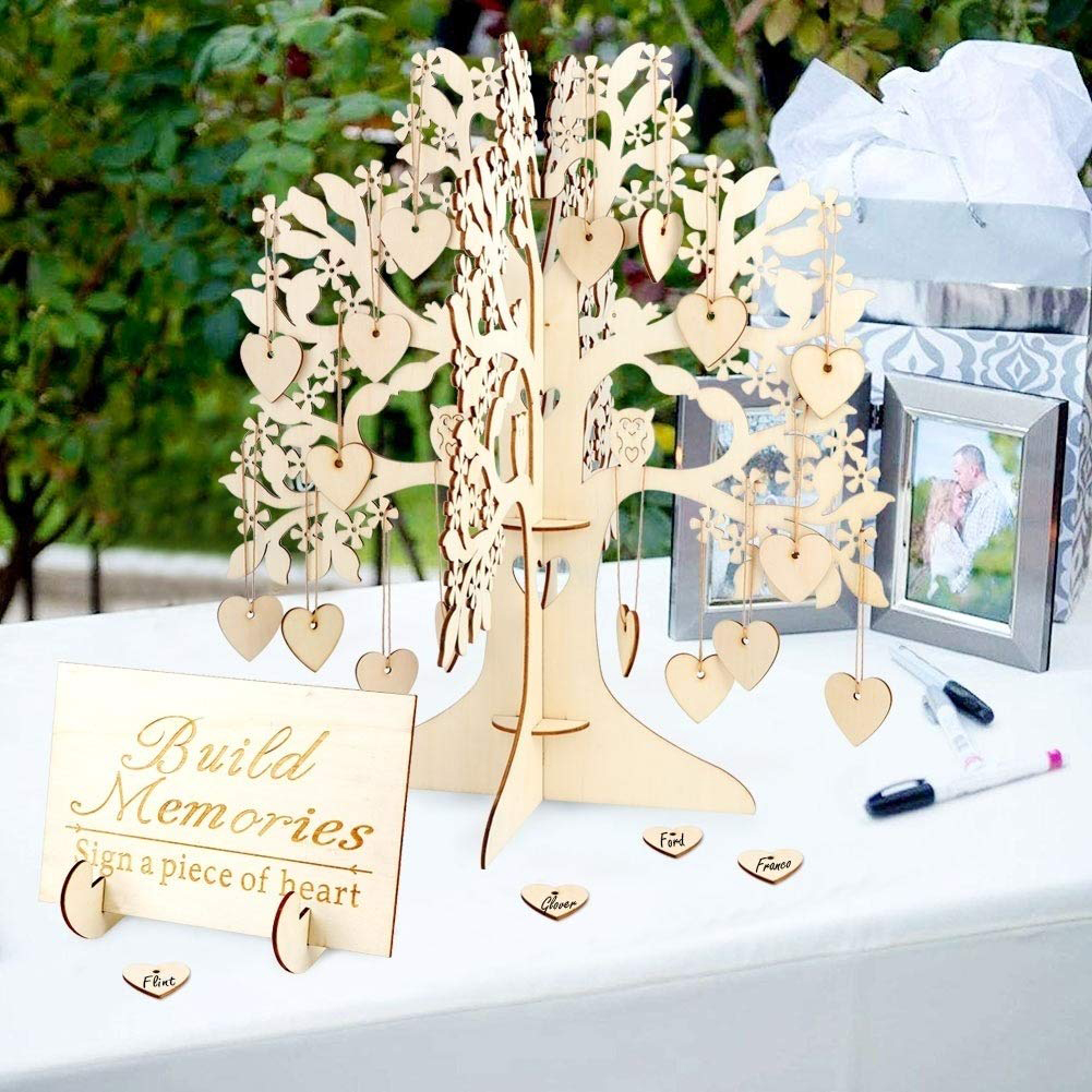 Wooden Tree Shape Wedding Guest Book Tabletop Message Pad JM01672